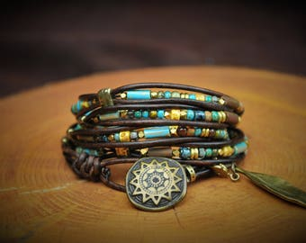 "5-Wrap Leather Bracelet -- Fits 6-1/4"" Wrist"
