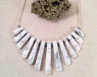 Fan Necklace White Howlite Gemstone