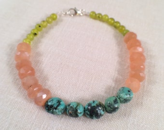 Juicy Peach Moonstone Beaded Gemstone Bracelet