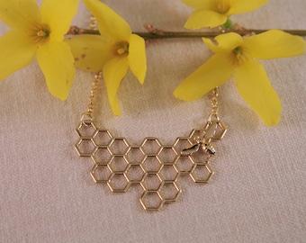 Honeycomb necklace, brass