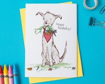 Dog with Flowers Birthday Card - Happy Birthday Dog Card - Illustrated Dog Birthday Card