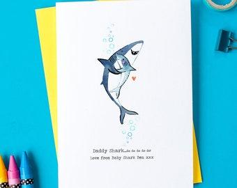 Personalised Daddy Shark Card - Daddy Shark Illustration - Dad Birthday Card - Grandad Birthday Card - Dad Card