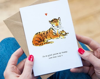 Personalised Mummy Tiger Card - Mummy Tiger Illustration - Tiger Mum Birthday Card - Grandma Birthday Card - Mummy Card