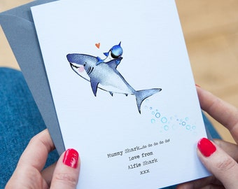 Personalised Mummy Shark Card - Birthday or Mother's Day