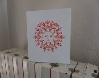 Sun Greeting Card, hand printed card, silkscreen card