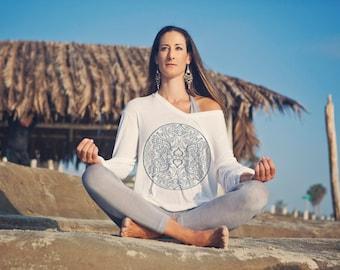 Lotus Yoga Top, Beach Top, Chakra top, Women's long sleeve tee