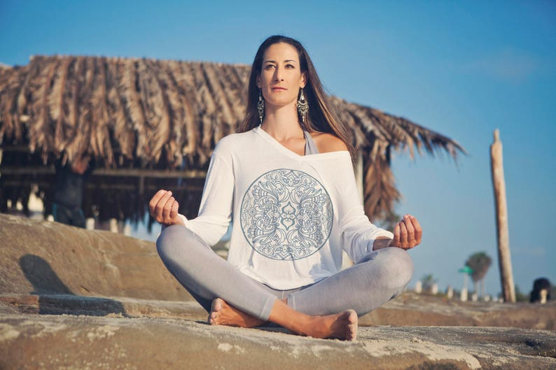 Organic long sleeve tee Yoga Top White Kundalini Yoga Top image 0