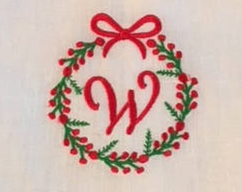 Embroidered Berry Wreath with Monogram initial on Tea Towel