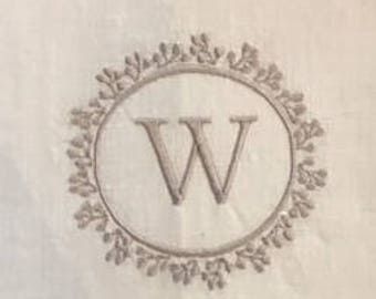 Embroidered Monogram Tea Towel on white linen hemp stitch. A classic look for any place in your home.