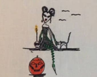 Withy Witch with her skull, cat and Jack o lantern