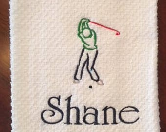 Embroidered Personalized Golfer Hand Towel