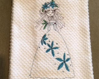 Miss Millie in Blue Embroidery on Hand Towel