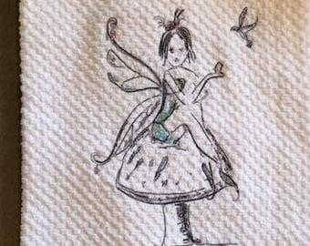Embroidered Fairy With Bird on a Mushroom Hand Towel