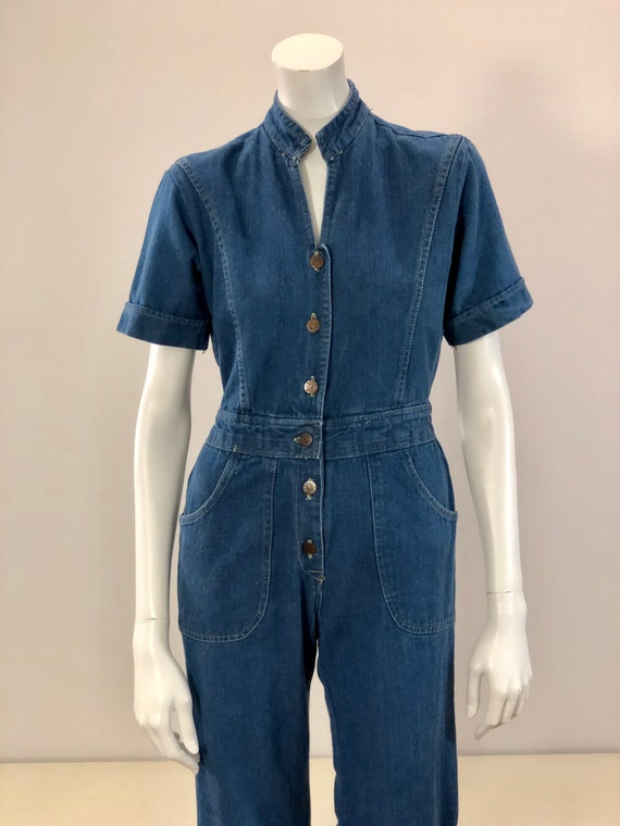 vintage blue jean denim bell bottom coverall jumps
