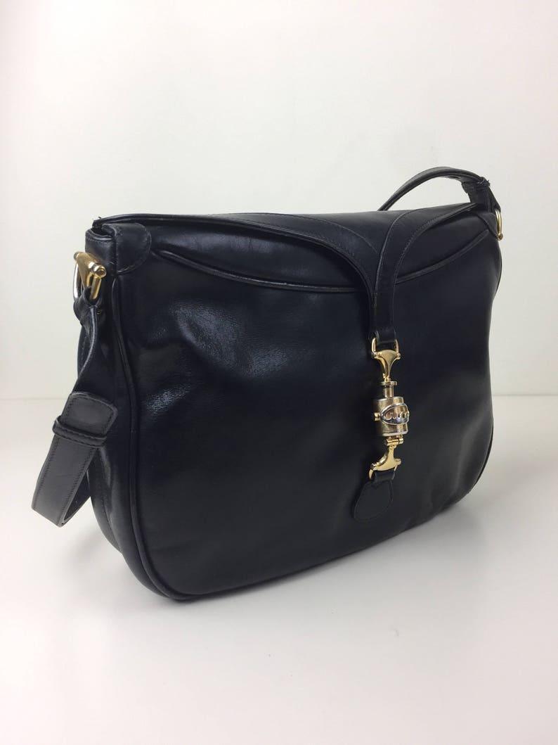 9fa0b43a38a Gucci large black leather shoulder bag w  horsebit clasp 70s