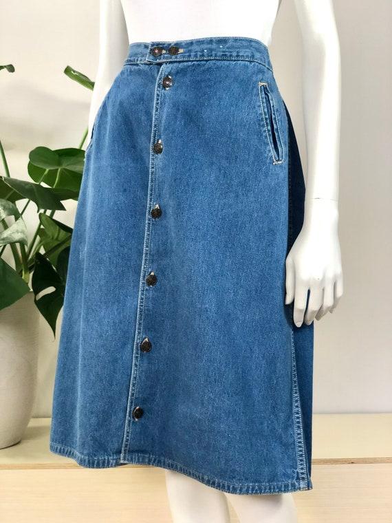 vintage button front A line denim skirt w/ pocket… - image 2