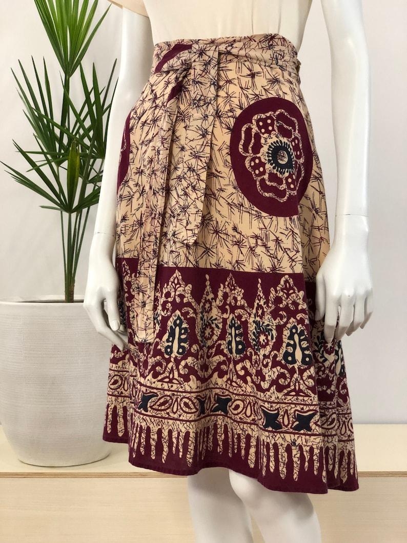 vintage Indian block printed soft cotton wrap skirt 70s