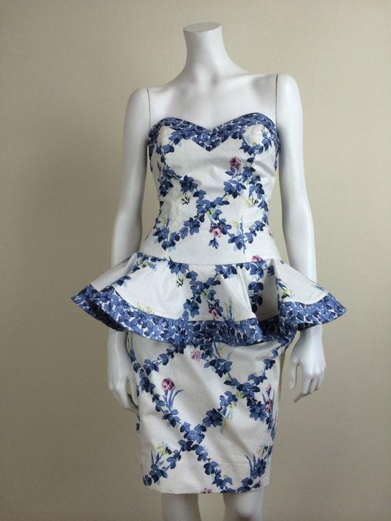 Barboglio chintz strapless dress w/ peplum