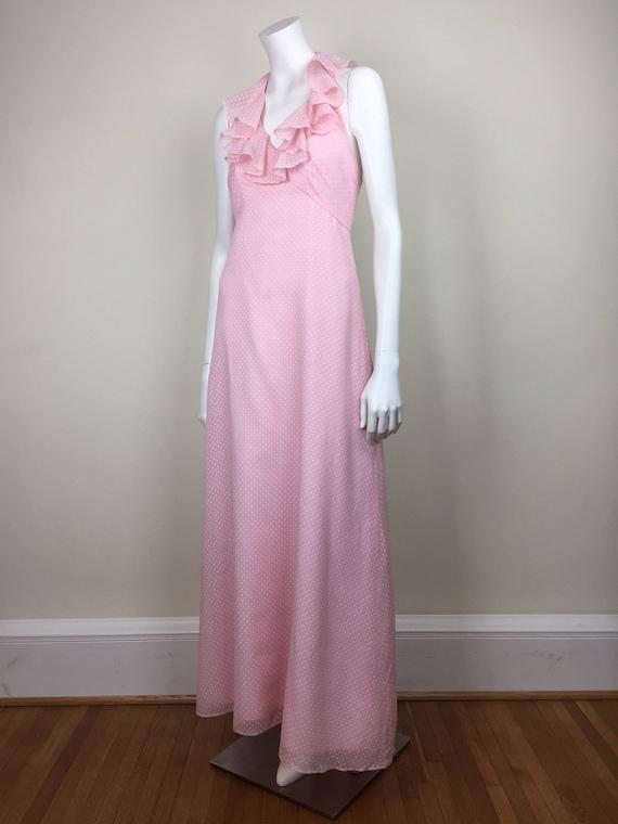 vintage floaty pink polka dot maxi dress w/ ruffle