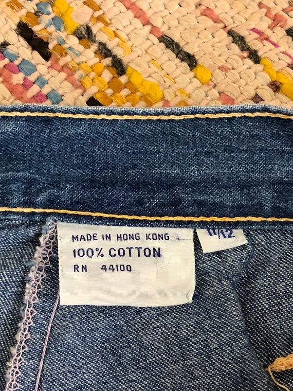 vintage button front A line denim skirt w/ pocket… - image 7