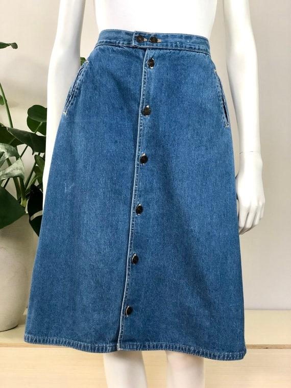 vintage button front A line denim skirt w/ pockets