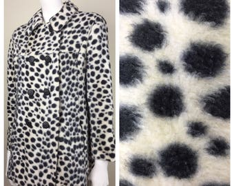 black & white animal print faux fur double breasted coat w/ pockets 60s