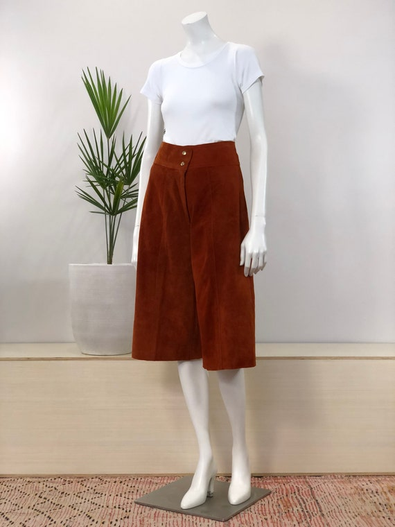 vintage rust brown suede high waisted gaucho pants