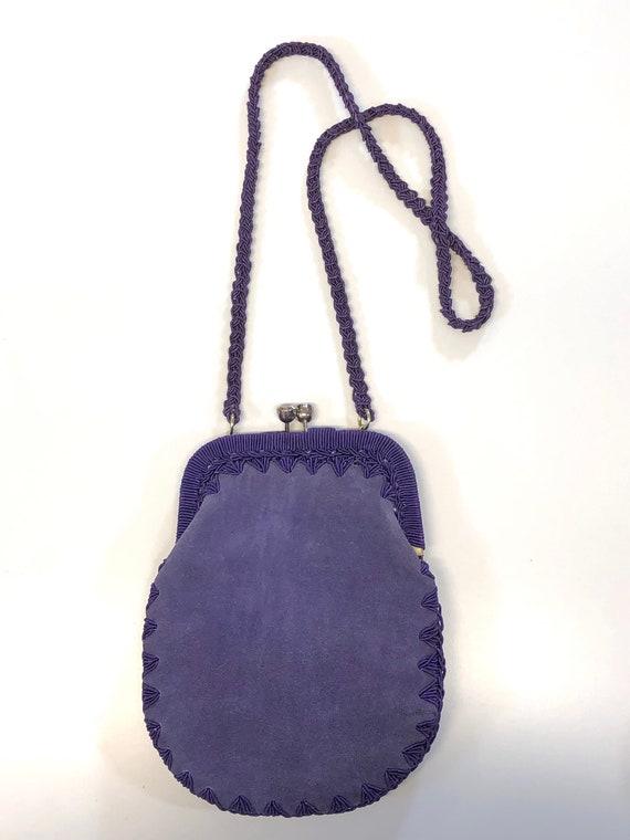 vintage purple suede & cord shoulder bag 60s