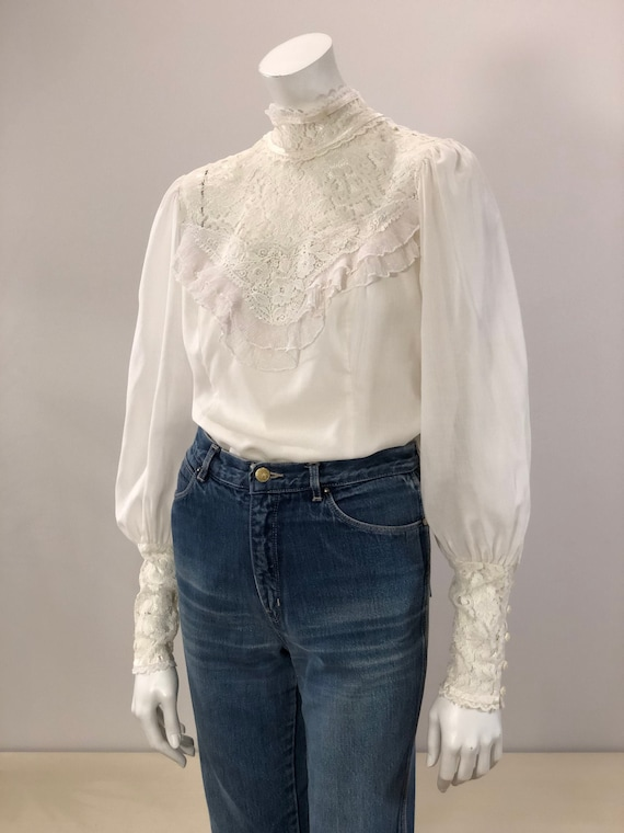 vintage Jessica's Gunnies white high neck blouse w
