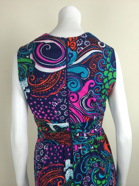 vintage bold psychedelic print maxi dress 60s - image 3