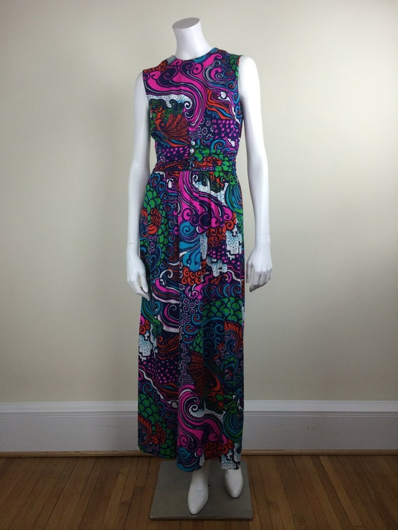 vintage bold psychedelic print maxi dress 60s - image 2