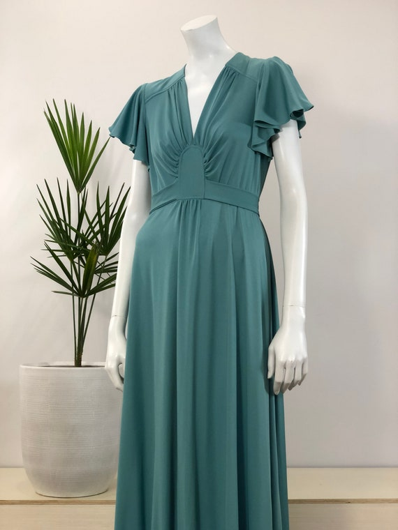 vintage soft jade green '70s does 30s' Jody T maxi