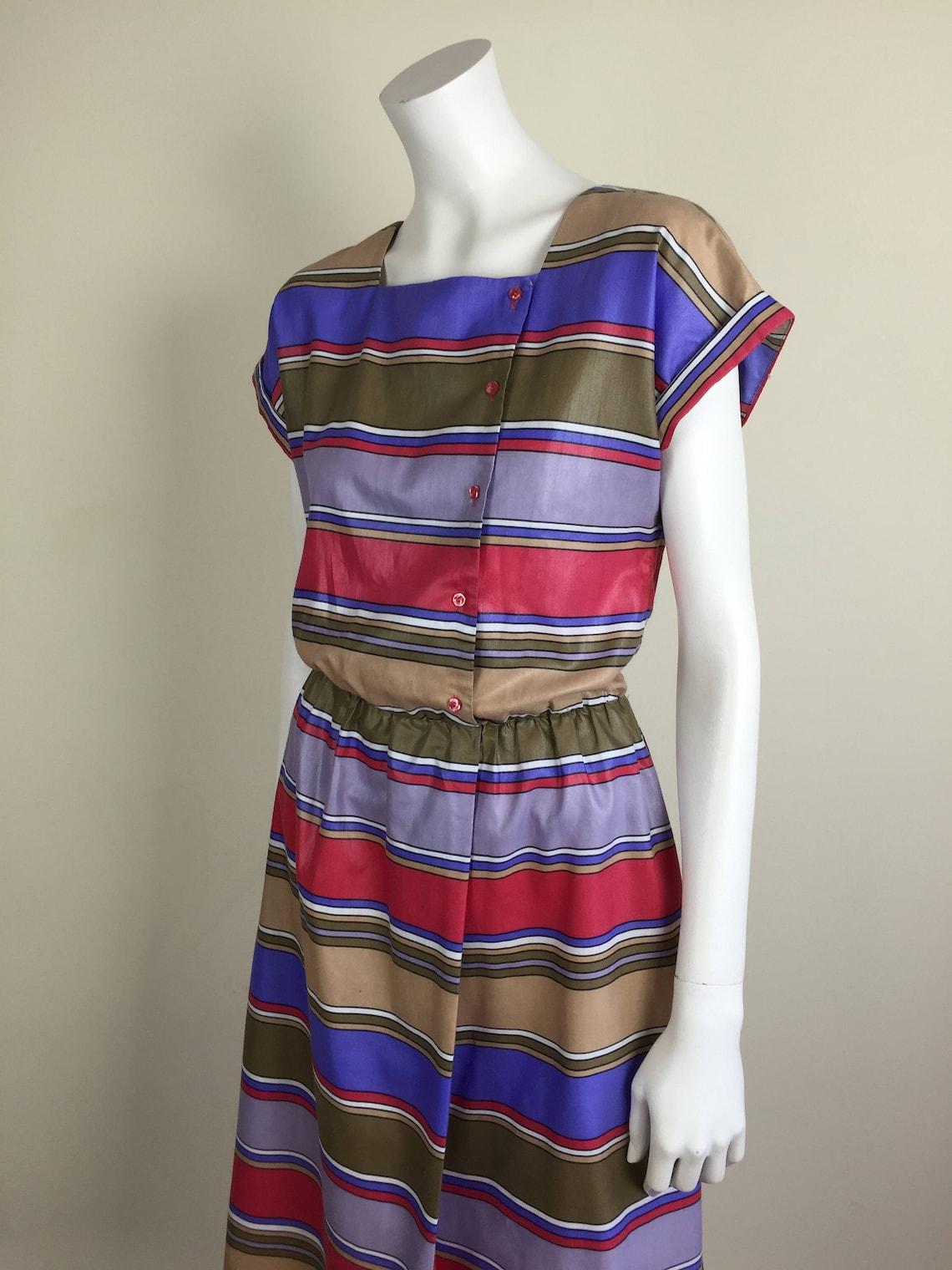 Vintage striped polished cotton day dress w/ pockets 80s