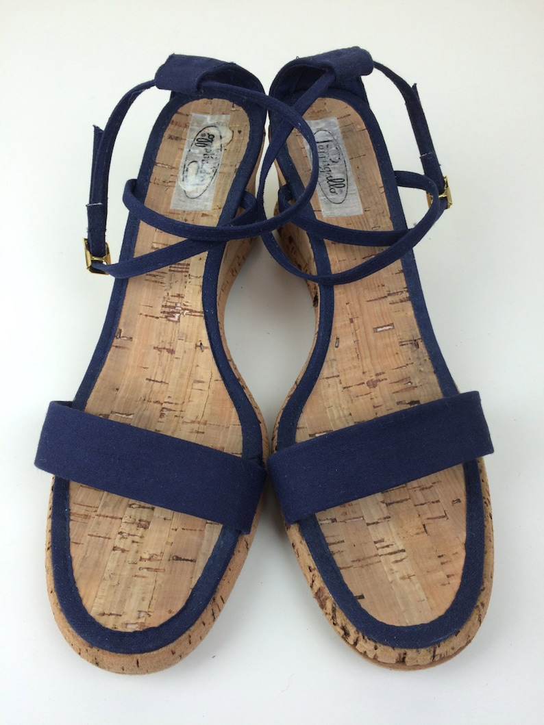 Pappagallo strappy navy canvas /& cork wedge sandals 10 N 70/'s