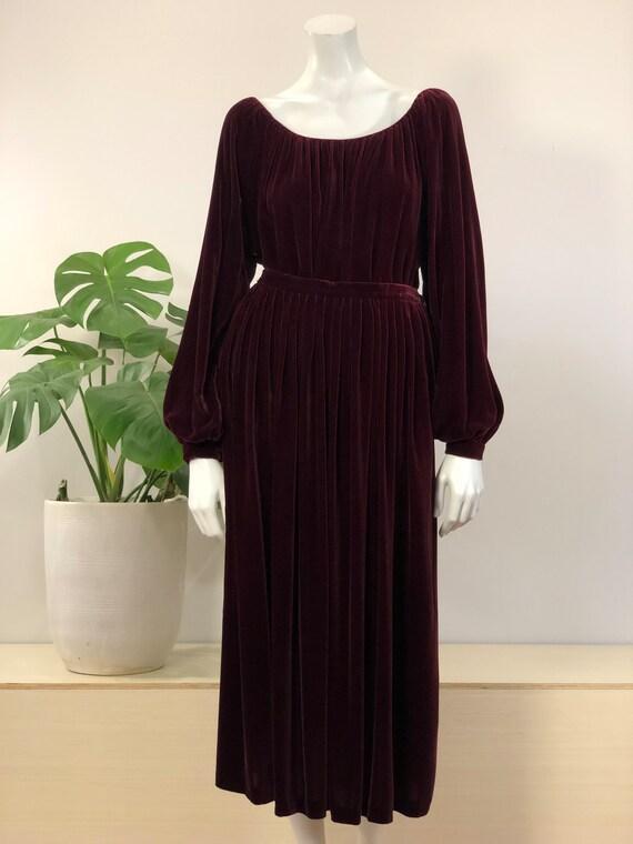 vintage Calvin Klein burgundy silk velvet peasant