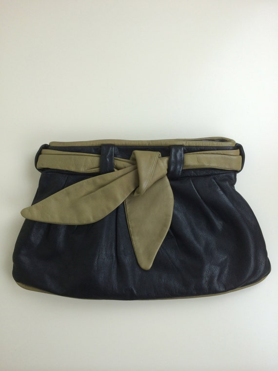 oversized buttery leather clutch 80s