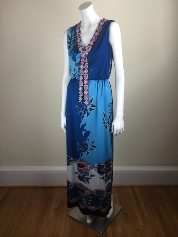 vintage Paganne printed jersey knit maxi dress 60s