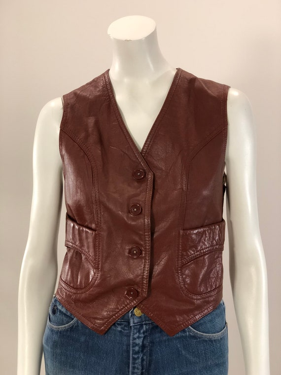 vintage cordovan brown fitted leather vest 70s