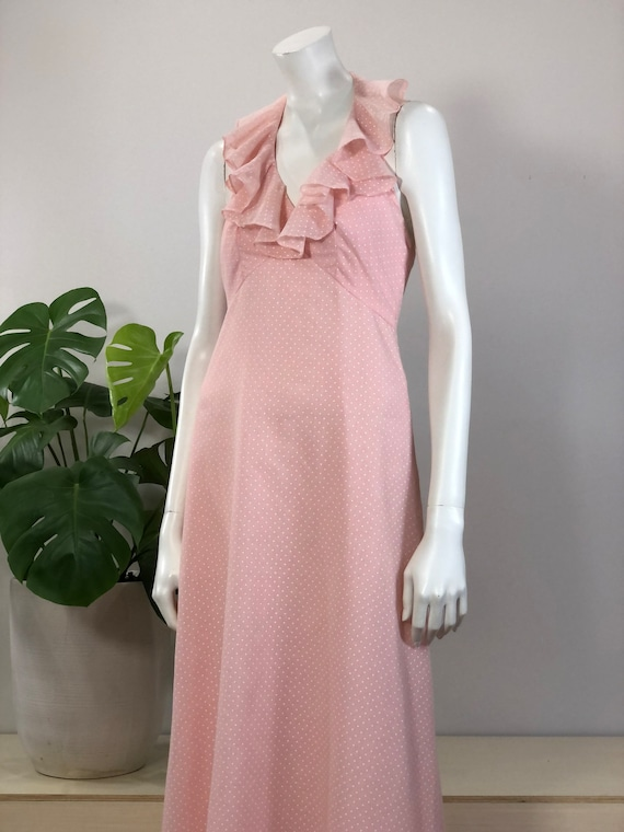 vintage floaty pink polka dot maxi dress w/ ruffle