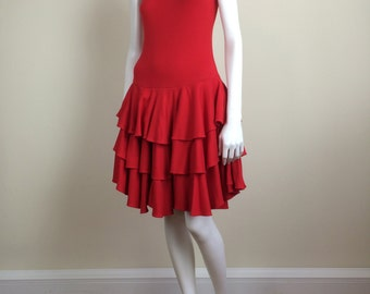 red knit racerback dress w/ tiered ruffled skirt 80s