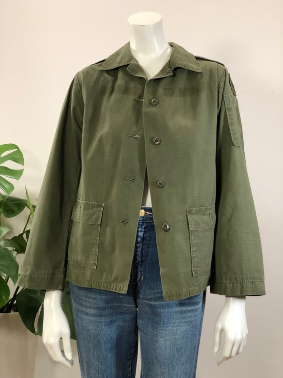 Vintage 80/'s army green leather woolen bomber jacket J/_001