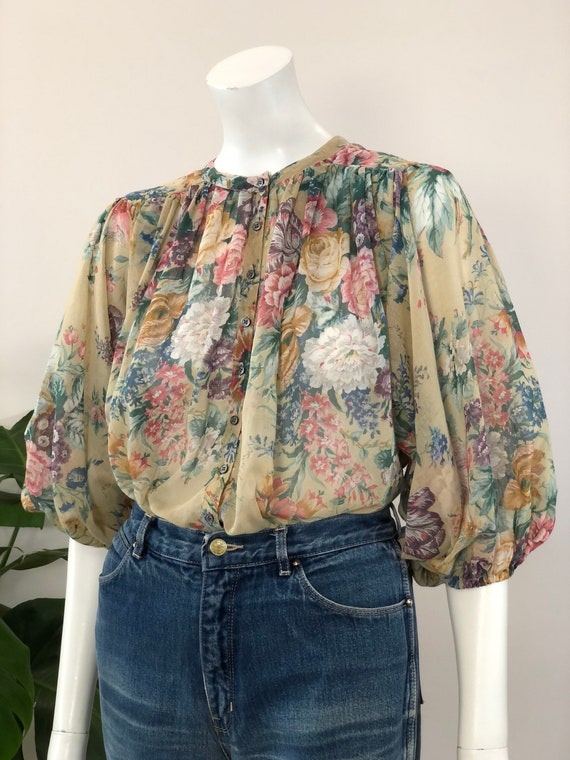 vintage sheer floral print full balloon sleeve blo