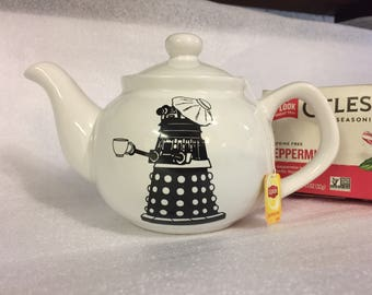 Personal dr who dalek recuperate teapot 2  to 3 cups, white stoneware, cute recuperating dalek