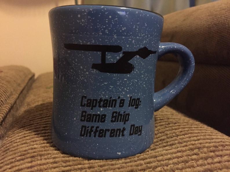 4322cab8283 Star Trek inspired USS Enterprise NCC-1701 fan mug kirk