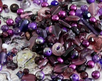 Purple Bead Mix Glass - Mix Craft Supplies - Jewelry Supplies - Bead Supplies - Loose Bead - Lot Jewelry Making - Mix Shapes and Sizes