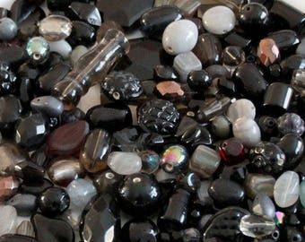 Black Bead Mix Glass - Mix Craft Supplies - Jewelry Supplies - Bead Supplies - Loose Bead - Lot Jewelry Making - Mix Shapes and Sizes