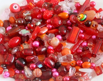 Red Bead Mix Glass - Mix Craft Supplies - Jewelry Supplies - Bead Supplies - Loose Bead - Lot Jewelry Making - Mix Shapes and Sizes