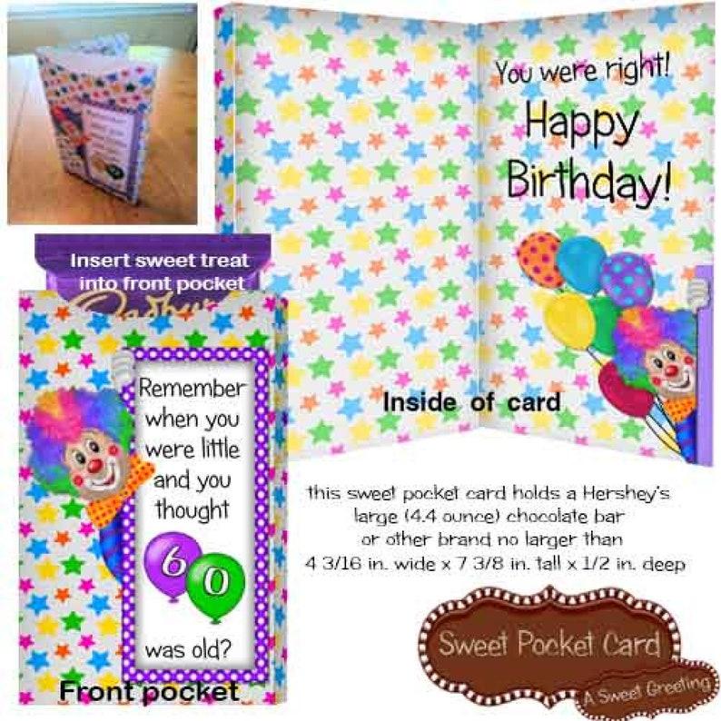 DIY Large 60th Birthday Clown Candy Bar Pocket Card
