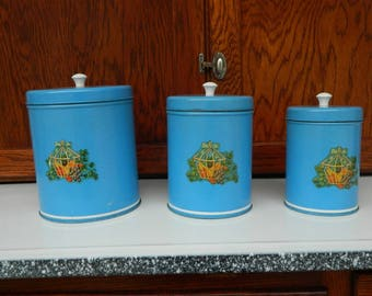 Set Of 3 Sky Blue Kitchen Canisters With Decals And Plastic Knobs Vintage  1940u0027s