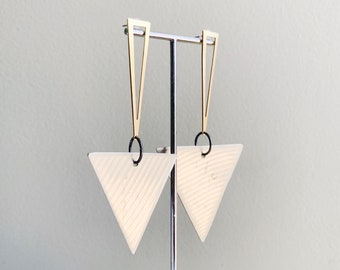DRUM CYMBAL Earrings - SILVER Cymbals - Recycled  - Art Deco Inspired - Triangle Earrings - Rock and Roll - Drummer - Festival Jewelry